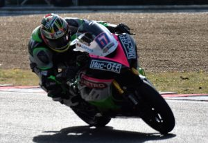 600 Supersport title contender Andy Reid exits Westfield on his Quattro Plant Cool Kawasaki ZX-6R