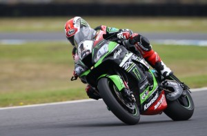 Jonathan Rea and his ZX-10R , on way to victory in the opening race of the 2016 World Superbike championship