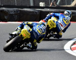 Josh Hook and Jack Kennedy battle it out through Clearways on the Team WD-40 Kawasaki ZX-10R Superbikes
