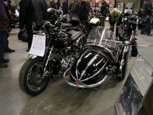 1947 Vincent Rapide and Steib sidecar, this clubman's sidecar outfit, known as 'The Fast Lady' was one of the stars of the show
